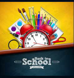 back to school design with alarm clock colorful vector image