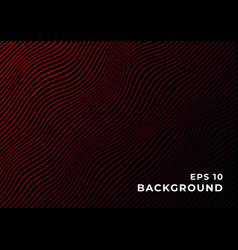 black background with wavy red gradient lines vector image