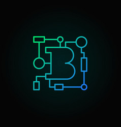 blockchain technology blue linear logo vector image