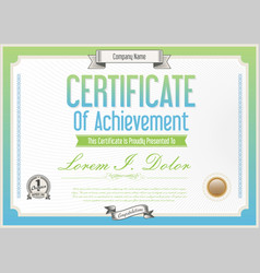 Blue and green certificate or diploma template vector