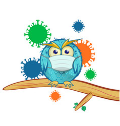 Blue owl with mask cartoon on coronavirus vector