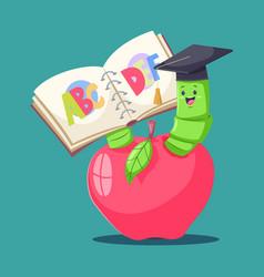 Bookworm cartoon character vector