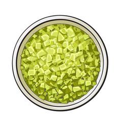 bowl of organic green aromatic bath salt top vector image