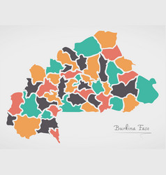 burkina faso map with states vector image