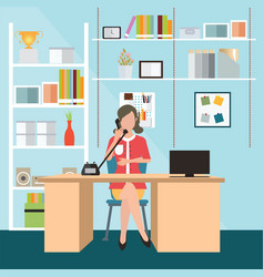 business woman talking on the phone in office vector image