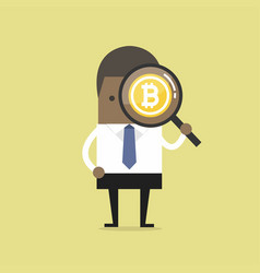 businessman looking bitcoin with magnifying glass vector image