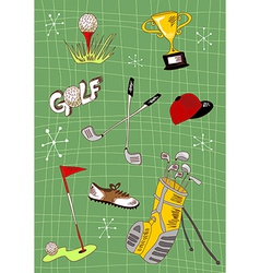 Cartoon golf icons set vector image