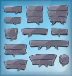 cartoon stone speech bubbles for ui game vector image