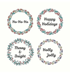 Christmas Wreath Set Line Style Winter Collection vector image