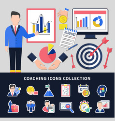 coaching icons set vector image
