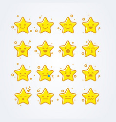 Collection of difference emoticon icon of stars vector