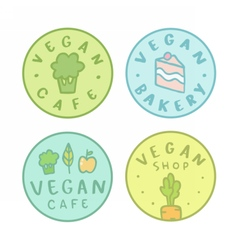 Collection of vegan bakery cafe shop badges vector image
