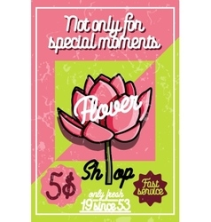 Color vintage flower shop poster vector image