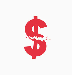 crashed dollar sign financial crisis vector image