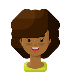 Curly brown hair girl flat icon vector