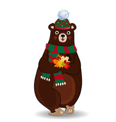 cute autumn bear in green knitted scarf and hat vector image