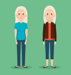 cute grandmothers avatars characters vector image