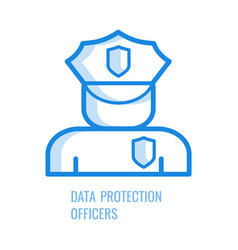 data protection officer icon - blue outline symbol vector image
