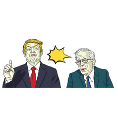 donald trump and bernie sanders cartoon vector image