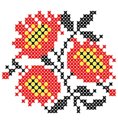 Embroidered poppies vector