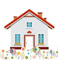 family house with flowers design vector image