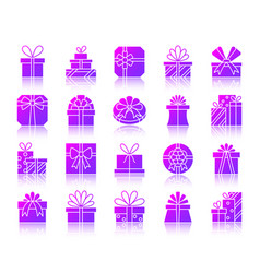 gift simple gradient icons set vector image