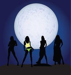 girl silhouette on moonlight vector image