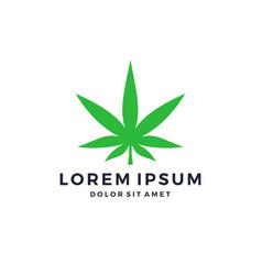 Green cannabis marijuana hemp leaf logo vector