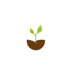 growing plants leaves farming logo design vector image
