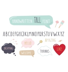 Hand drawn narrow font tall alphabet doodle vector