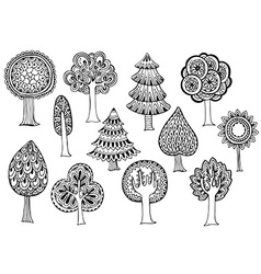 hand drawn set trees in doodle style vector image