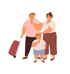 happy family obese people standing with luggage vector image