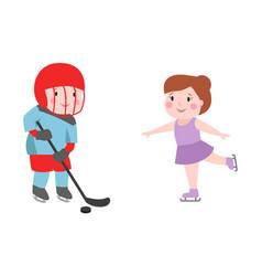 Hockey player boy with stick attitude bandage on vector
