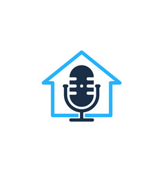 House podcast logo icon design vector