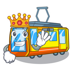 King miniature electric train in cartoon shape vector