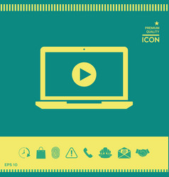 laptop with play button icon vector image