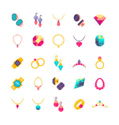 Luxury jewelry flat icons vector