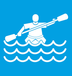 male athlete in a canoe icon white vector image