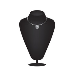 mannequin silhouette with diamond necklace vector image
