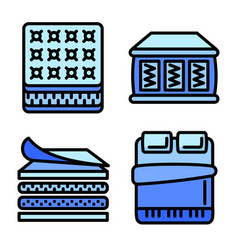 Mattress icons set outline style vector