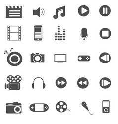 media and entertainment icons set vector image