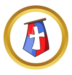 Medieval banner icon cartoon style vector