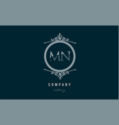 mn m n blue decorative monogram alphabet letter vector image