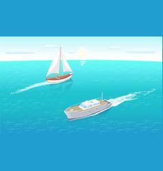 modern yachts marine nautical personal ship icon vector image