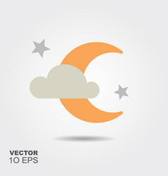 moon night flat silhouette icon with shadow vector image