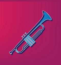 musical instrument trumpet sign blue 3d vector image