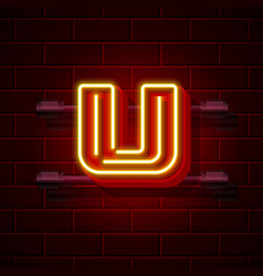 Neon city font letter u signboard vector