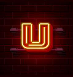 Neon city font letter u signboard vector