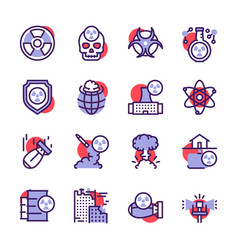 Nuclear color linear icon set missile vector