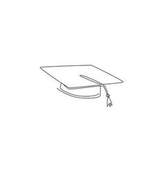 one single line drawing graduation cap logo vector image